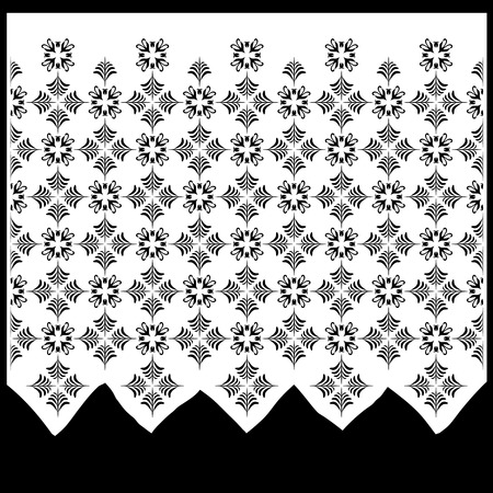home furnishings: The vintage window curtain -  vector illustration