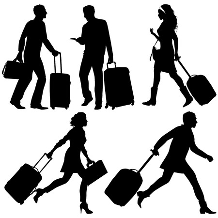 guidebook: People in a hurry, on airport or station - vector silhouettes.