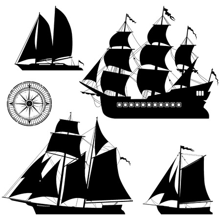 galley: Yacht and old pirate ships vector set
