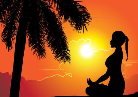 Summer holiday Training yoga girl vector illustration Vector