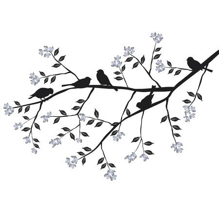 summer day: P�jaros en la rama durante el d�a 2d vector verano Vectores