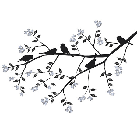 Birds on the branch during the summer day 2d vector Illustration