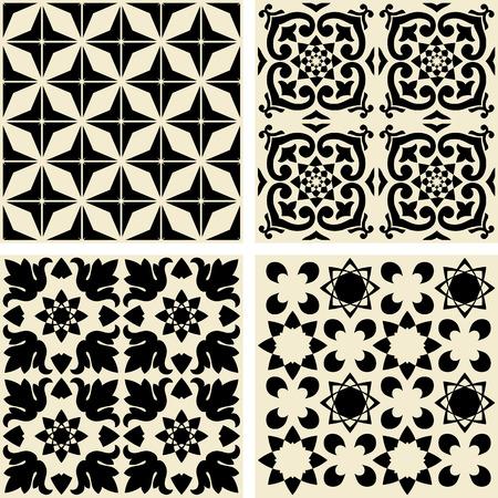 cemento: Vector azulejos de cerámica con el patrón Vectores
