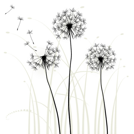 meadows: Abstract background with dandelions, vector