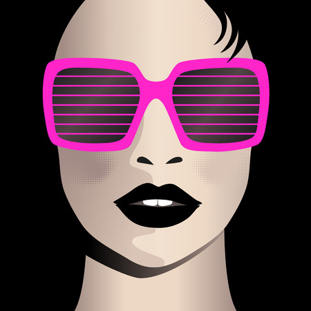 celebrity: Glamor girl wears sunglasses. Celebrity Illustration
