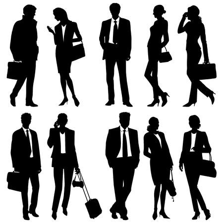 mujer con maleta: la gente de negocios - equipo global - siluetas vector Vectores