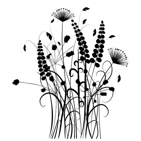 silhouette fleur: Collection pour les concepteurs, prairie en été, vecteur de plante ensemble