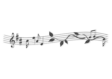 plant stand: Abstract banner, music notes, vector illustration