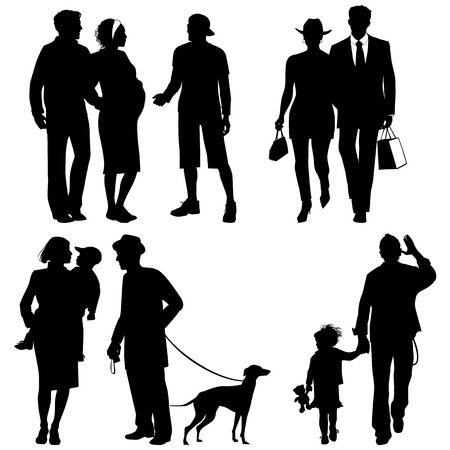 father and son: Several people, city live - vector silhouettes