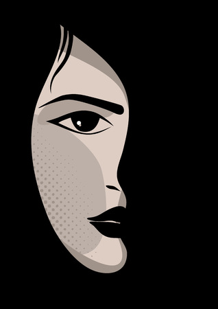 eye shade: Glamor girl with black background