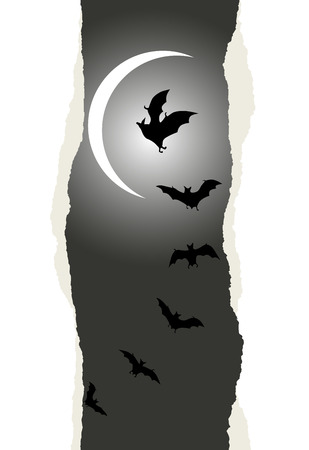 ghouls: Flying bats on full moon background. Halloween background with place for your text