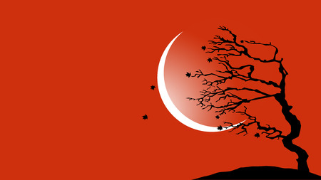 wall decal: Tree blowing in the wind vector background
