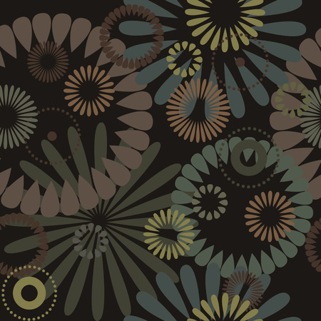 brown background: Abstract flowers, a seamless pattern - vector Illustration