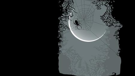 ghouls: Halloween background - spider on cobweb - vector illustration Illustration