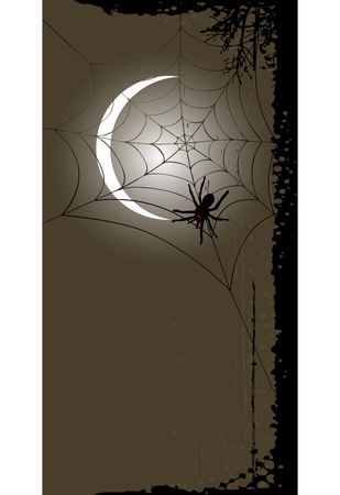 ghouls: Halloween background with full moon and spider web. Halloween background with place for your text