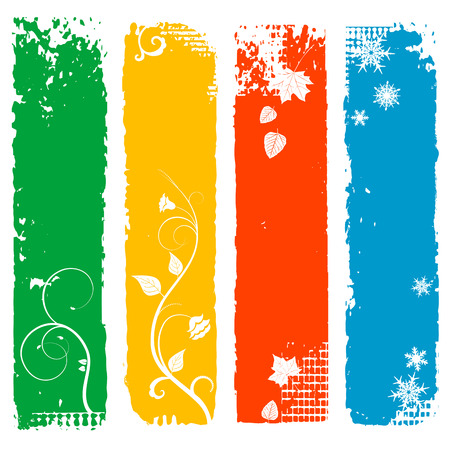 four season: Set of four season vertical banners - vector illustration