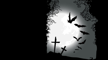 ghouls: Halloween horizontal banner - destroyed cemetery in full moon Illustration