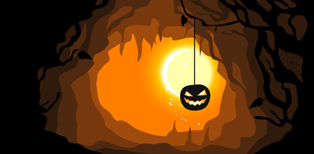 A hanging pumpkin. Halloween background with place for your text. Vector illustration