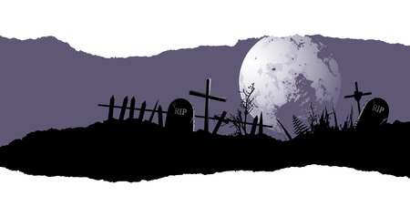 ghouls: Old, destroyed cemetery. Halloween background with place for your text