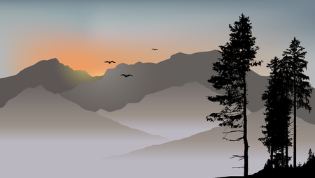 Lonely pine on the mountains background with flying birds Illustration