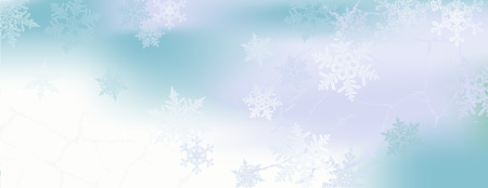 hoarfrost: Winter horizontal banner with snowflakes