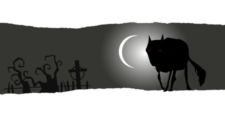 baner: Lone wolf. Halloween horizontal baner with place for your text Illustration