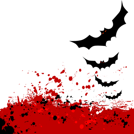 ghouls: Halloween background with flying bats