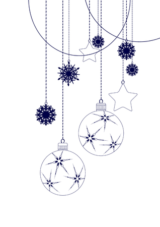 black tree: Christmas Decorations in black - vector elements