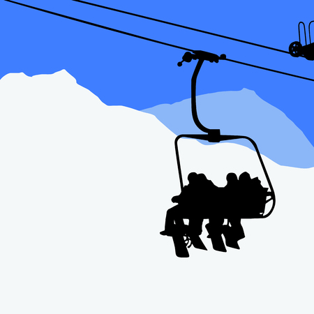 skiers: A few people on the ski lift - snowboarders, skiers Illustration