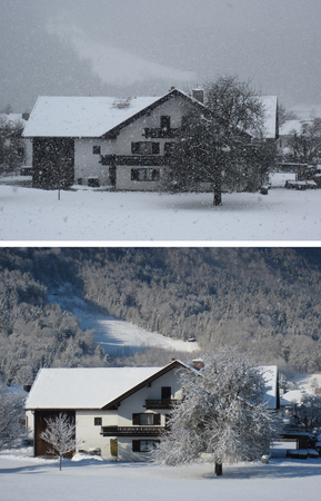 winter weather: The same house. Snowstorm and a sunny day. Winter Weather in village.
