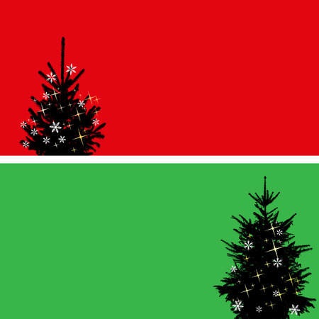 christmas tree set: Christmas tree set of two banners, elements for design