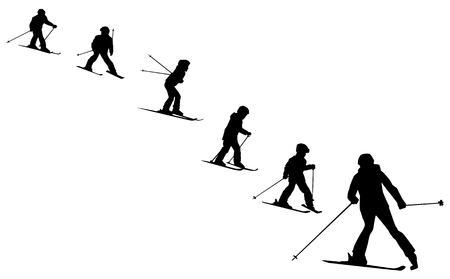 skiers: ski school collection of  skiers silhouettes