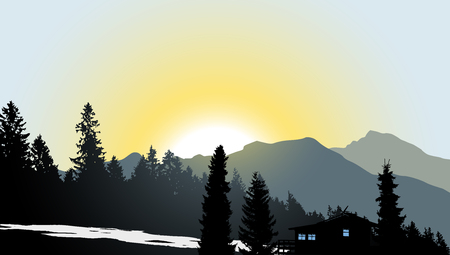 forest landscape: Mountain View with a lonely house - vector illustration Illustration