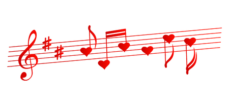 ditch: Valentines musical background - vector illustration