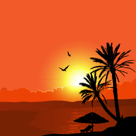 seascape: A Tropical Landscape Sunset with Palm Trees Illustration