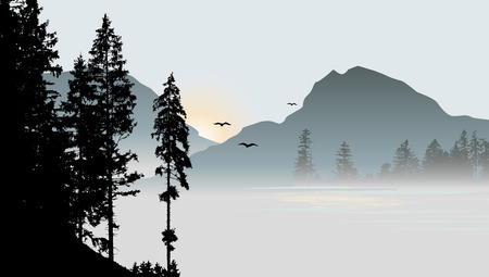 mountain view: Mountain view with flying birds during sunrise