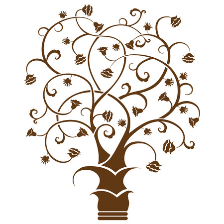subject matter: Abstract art tree, black on white background - vector illustration Illustration