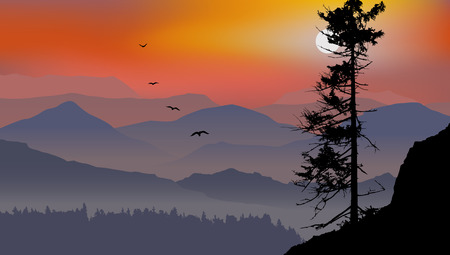 mountain view: The mountain view with flying birds during a sunrise