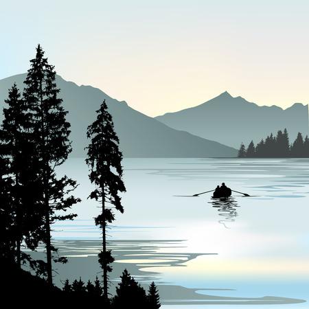 dock: sunrise or sunset on the lake during foggy day Illustration