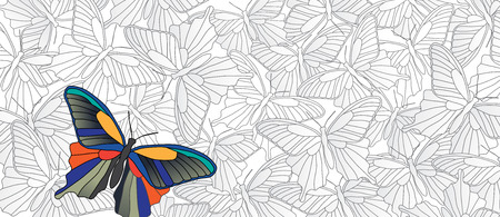 distinguish: Stand out! Vector banner with many butterflies