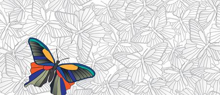 Uitblinken! Vector banner met veel vlinders
