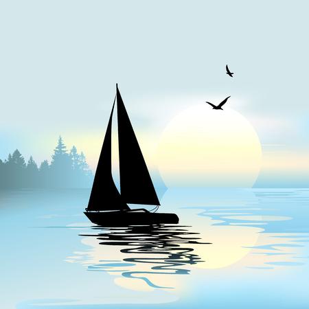 Vroeg in de ochtend met een boot en vogels Stock Illustratie