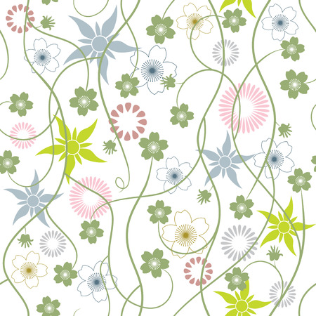 abstract flowers: Spring Garden. Abstract flowers - seamless pattern