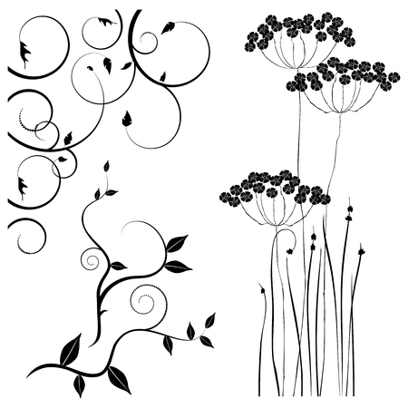 for designers: Collection for designers, meadow, plants set