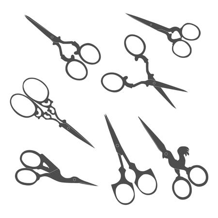 Antique scissors. Collection of vintage accessories. Illustration