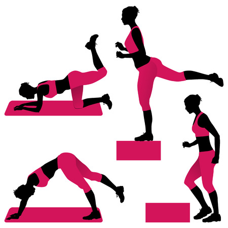 Young woman doing exercises for firm buttocks - vector illustration