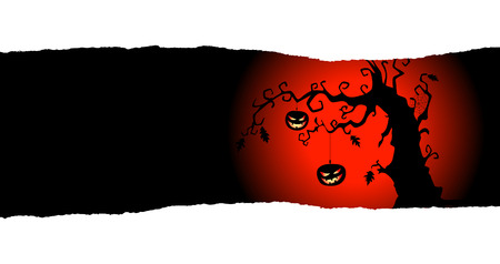 ghouls: Two pumpkins are hanging on the tree. Halloween  with place for your text