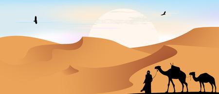 Camels, caravan in the desert, vector illustration