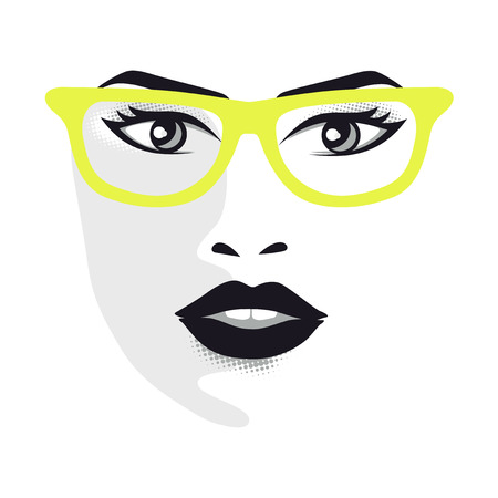 Woman face with glasses for designers - vector illustration gray scale