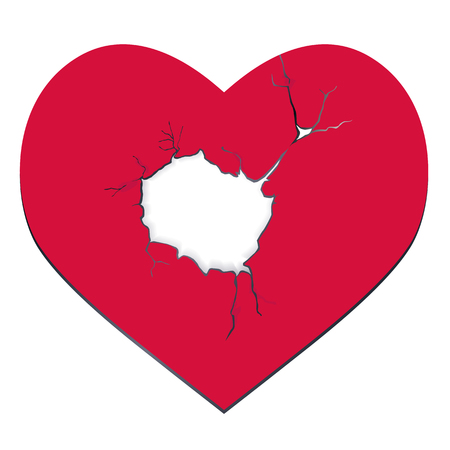 unrequited love: Heartbreak. Red heart with a hole in the middle graphic design isolated vector illustration on white background
